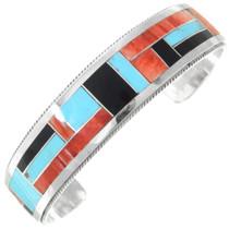 Multistone Gemstone Inlay Sterling Silver Zuni Cuff Bracelet 41296