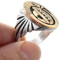 Navajo Heartline Bear Symbol Sterling Silver Gold Ring 41297