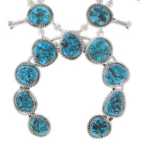 Navajo Turquoise Silver Squash Blossom Necklace 41305
