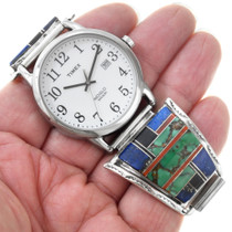 Native American Gemstone Inlay Green Turquoise Watch 35311
