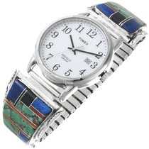 Navajo Turquoise Lapis Sterling Silver Mens Watch 35311