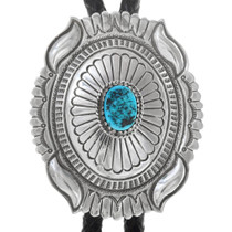 Natural Turquoise Sterling Silver Bolo Tie 41310