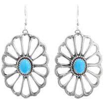 Navajo Turquoise Sterling Silver Dangle Earrings 41314