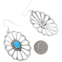Old Pawn Style Silver Concho Turquoise Earrings 41314