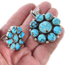 Sterling Silver Natural Ithaca Peak Turquoise Pendant Set 41319