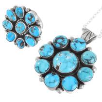 Natural Turquoise Navajo Pendant Ring Set 41319