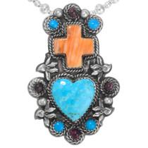 Vintage Navajo Turquoise Sacred Heart Cross Pendant 41320