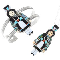 Vintage Zuni Olla Maiden Pendant Bracelet Set 41325