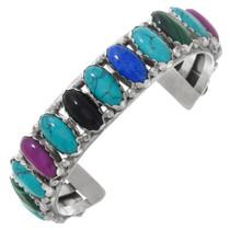 Vintage Navajo Turquoise Multistone Silver Bracelet 41329