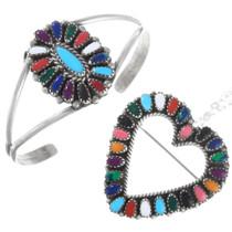 Vintage Navajo Colorful Gemstone Bracelet Heart Pendant Set 41333