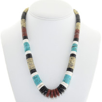 Old Pawn Native American Heishi Bead Necklace 0602