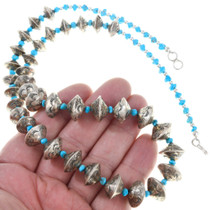 Navajo Turquoise Silver Bead Necklace Old Pawn Saucer Beads 0751