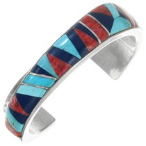 Sterling Silver Turquoise Lapis Mosaic Inlay Bracelet