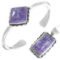 Navajo Dogtooth Amethyst Silver Bracelet Pendant Set 41358