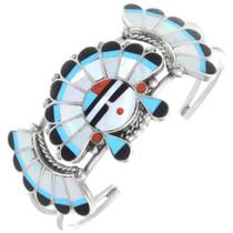 Vintage Zuni Sterling Silver Inlaid Sunface Bracelet 41359