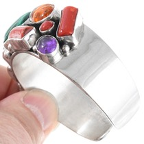 Colorful Gemstone Sterling Silver Cuff Bracelet 41361