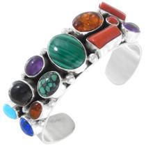 Vintage Sterling Silver Multistone Malachite Bracelet 41361