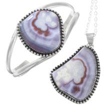Navajo Sterling Silver Purple Agate Bracelet Pendant Set
