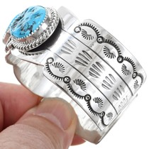 Turquoise Sterling Silver Navajo Cuff Bracelet 24936