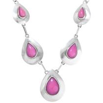 Rose Pink Jade Native American Necklace 41369
