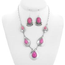 Vintage Navajo Pink Stone Sterling Silver Necklace Earrings Set 41369
