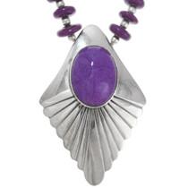Purple Onyx Silver Pendant Beaded Navajo Necklace 41370