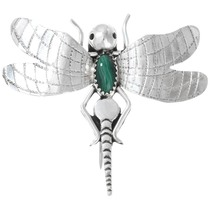 Vintage Navajo Sterling Silver Malachite Dragonfly Brooch Pin 41371