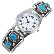 Vintage Navajo Turquoise Mens Sterling Silver Watch 41373