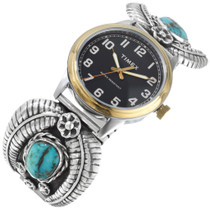 Old Pawn Turquoise Sterling Silver Native American Watch 41374