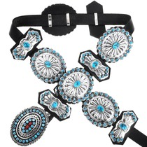 Sterling Silver Turquoise Concho Belt 41375