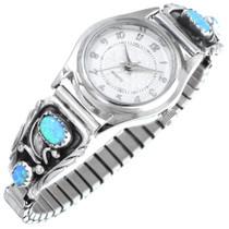 Blue Opal Sterling Silver Navajo Watch 41382