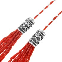 Sterling Silver Barrel Beads Coral Necklace 41386