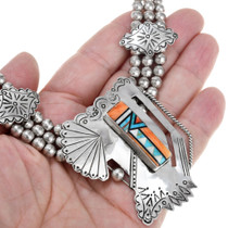Zuni Geometric Design Spiny Oyster Inlay Necklace 41300