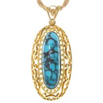 Vintage Turquoise 18K Gold Pendant Necklace 41391