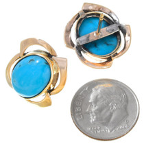 Vintage Turquoise 14K Yellow Gold Earrings 41392