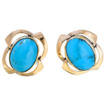 14K Gold Turquoise Earrings 41392
