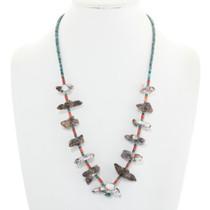 Vintage Native American Fetish Heishi Necklace Bird Totems 0084