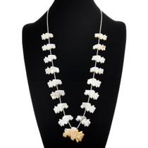 Vintage Zuni Carved Buffalo Fetish Heishi Necklace 41343