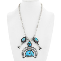 Old Pawn Turquoise Sterling Silver Naja Necklace 41368