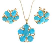 14K Gold Turquoise Pendant Earrings Set 41394