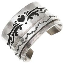 Vintage Sterling Silver Heart Design Navajo Cuff Bracelet 40860