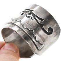 All Sterling Silver Navajo Overlay Heart Bracelet 40860