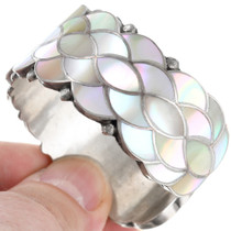Inlaid Shell Sterling Silver Native American Bracelet 41400