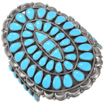 Large Sterling Silver Turquoise Cluster Cuff Bracelet 41401