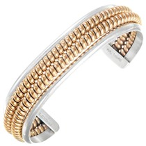 Vintage Navajo Silver Gold Bracelet 41402