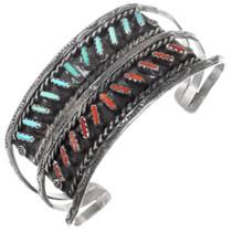 Old Pawn Zuni Needlepoint Turquoise Coral Bracelet 41404