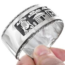 Original Navajo Calvin Peterson Storyteller Design Silver Bracelet 41407