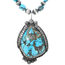 Natural Turquoise Pendant Sterling Silver Bench Bead Necklace
