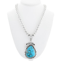 Sterling Silver Turquoise Navajo Pendant with Chain 41312