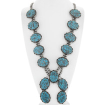Large Old Pawn Turquoise Squash Blossom Necklace 41415
